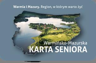 Widok z przodu Warmińsko-Mazurskiej Karty Seniora