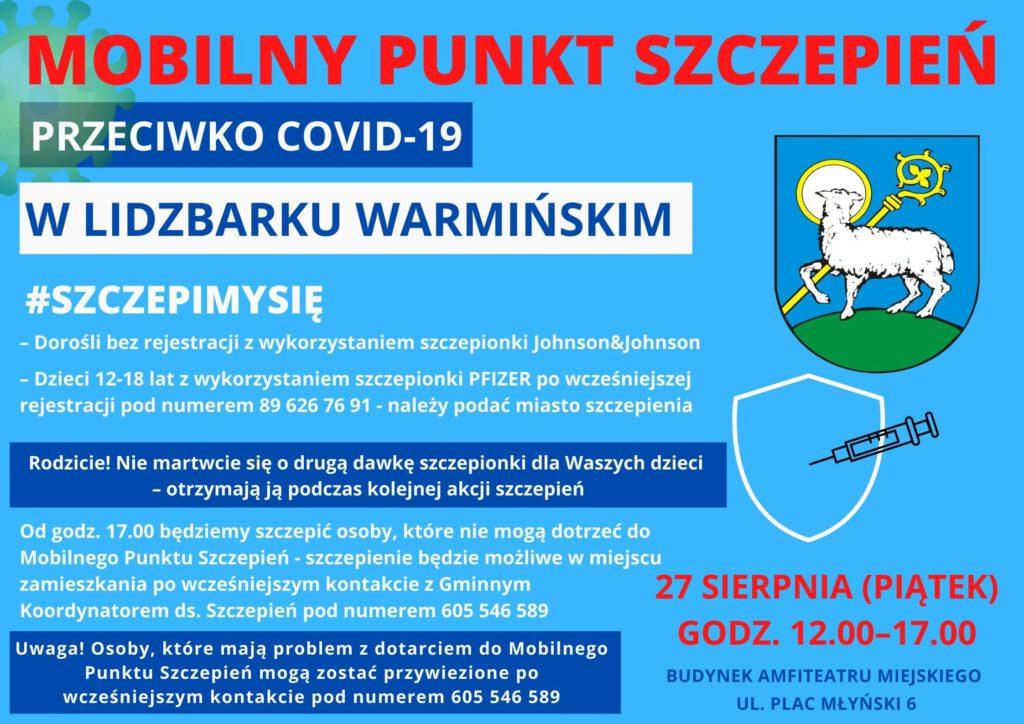 plakat informacyjny mobilnego punktu szczepień