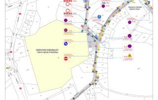 Plan miasta z opisem miejsc zmiany organizacji ruchu